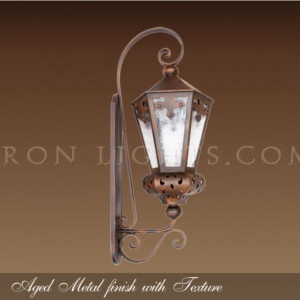 Outdoor lights with aged metal finish