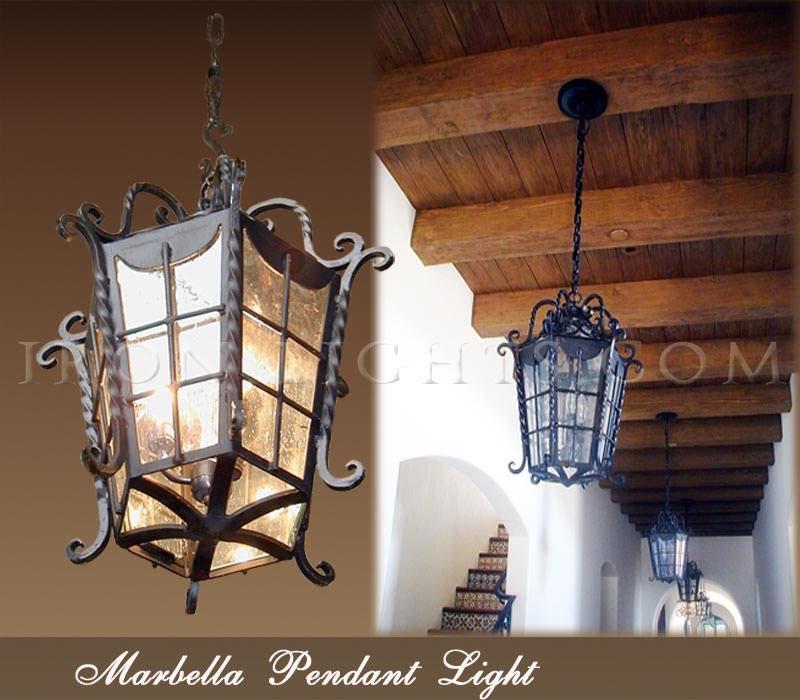 Spanish Revival Lighting Wrought Iron Outdoor Pendant
