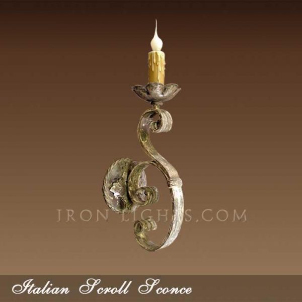 Indoor wall sconce Italian scroll