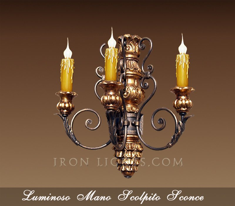 Wood and Iron Wall sconce